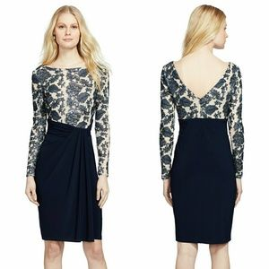 New! RALPH LAUREN Sequin Mesh Ruched Sheath Dress
